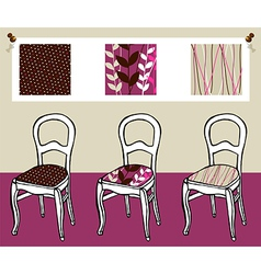 Three upholstered chairs vector
