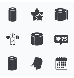 Toilet paper icons Kitchen roll towel symbols vector image