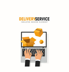 tracking parcel online service laptop hands and vector image