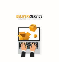 Tracking parcel online service laptop hands vector