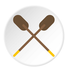 two wooden crossed oars icon circle vector image