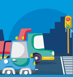 vehicles waiting traffic light vector image