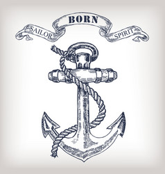 vintage anchor vector image