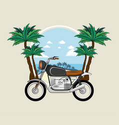 vintage motorcycle on beach vector image