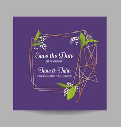 wedding invitation floral template geometric vector image