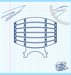 wooden barrel on rack line sketch icon isolated on vector image