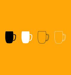 beer mug black and white set icon vector image