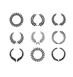 Set silhouette circular laurel foliate and wheat vector image vector image