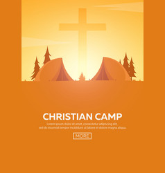 christian summer camp evening camping cross vector image