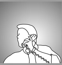 close-up businessman using retro telephone vector image
