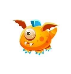 Orange Fantastic Friendly Pet Dragon With One Eye vector image