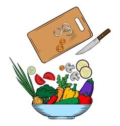 Vegetarian salad preparation process vector image vector image