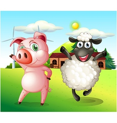 A pig and a sheep dancing at the farm with a vector image vector image