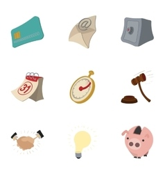 Company icons set cartoon style vector