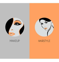 Girl face closeup Hairstyle and makeup beauty badg vector image