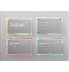 Glass modern banner set with shiny golden vector