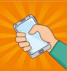 hand holding smartphone desigh vector image