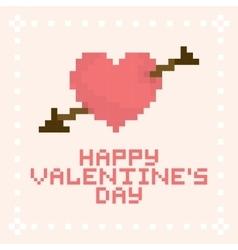 Pixel art valentines day card vector image vector image
