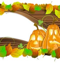 Pumpkin heads on wooden background vector image vector image