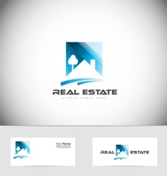 Real estate house roof logo design vector image vector image
