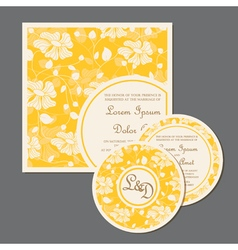 yellow wedding invitation cards set with flowers vector image