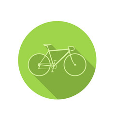 bike icon on green round background vector image vector image