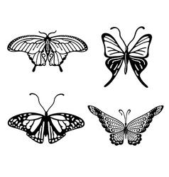 Black-white butterfly logo set vector image vector image