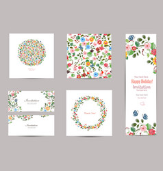 collection of greeting cards with cute flora for vector image