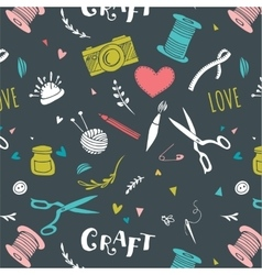 Crafts patterns and hand drawn background vector image vector image