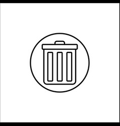 Delete and bin line icon mobile sign and garbage vector