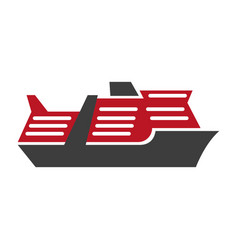Red and black motor ship hand drawn art pattern vector