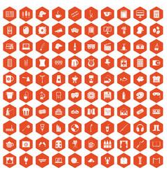 100 leisure icons hexagon orange vector