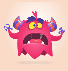 Angry cartoon monster pink and horned vector