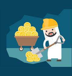arab businessman use shovel shoveling for find vector image