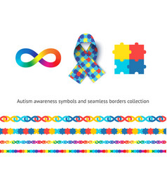 autism awareness symbols and seamless borders set vector image
