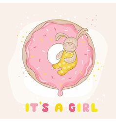 baby bunny on a donut - shower card vector image