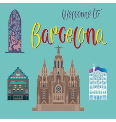 Barcelona architecture tourism catalonia vector