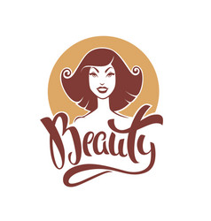 beauty lettering composition and retro pinup girl vector image