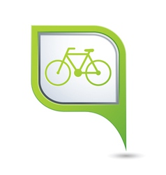bicycle symbol on green map pointer vector image
