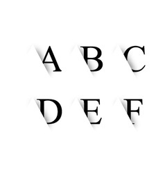 Black alphabet letters with shadow vector image