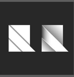 bold letter r logo set origami paper sheet vector image