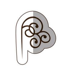 Brown decorative swirl icon vector