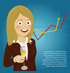 Business woman showing champagne glass vector