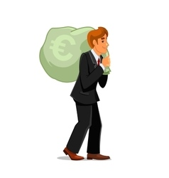 Businessman carrying money bag with euro sign vector image