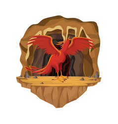 Cave interior scene with phoenix greek vector