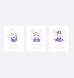 childhood - line design style conceptual banners vector image