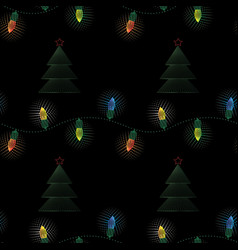 christmas electric garland with christmas tree vector image
