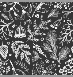 christmas seamless pattern hand drawn winter vector image