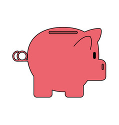 Color silhouette cartoon side view pink piggy bank vector