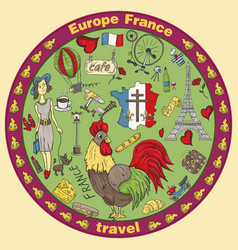 Color travel 4 to europe france symbols and vector